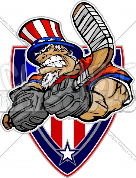 Memorial Day Hockey Player   Uncle Sam Cartoon Clipart Image