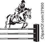 Of A Black And White Rider Leading A Horse To Jump Over Hurdles