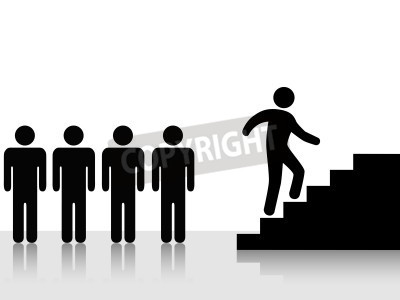Person   Group Lieader   Climbs Stairs Vector Illustration