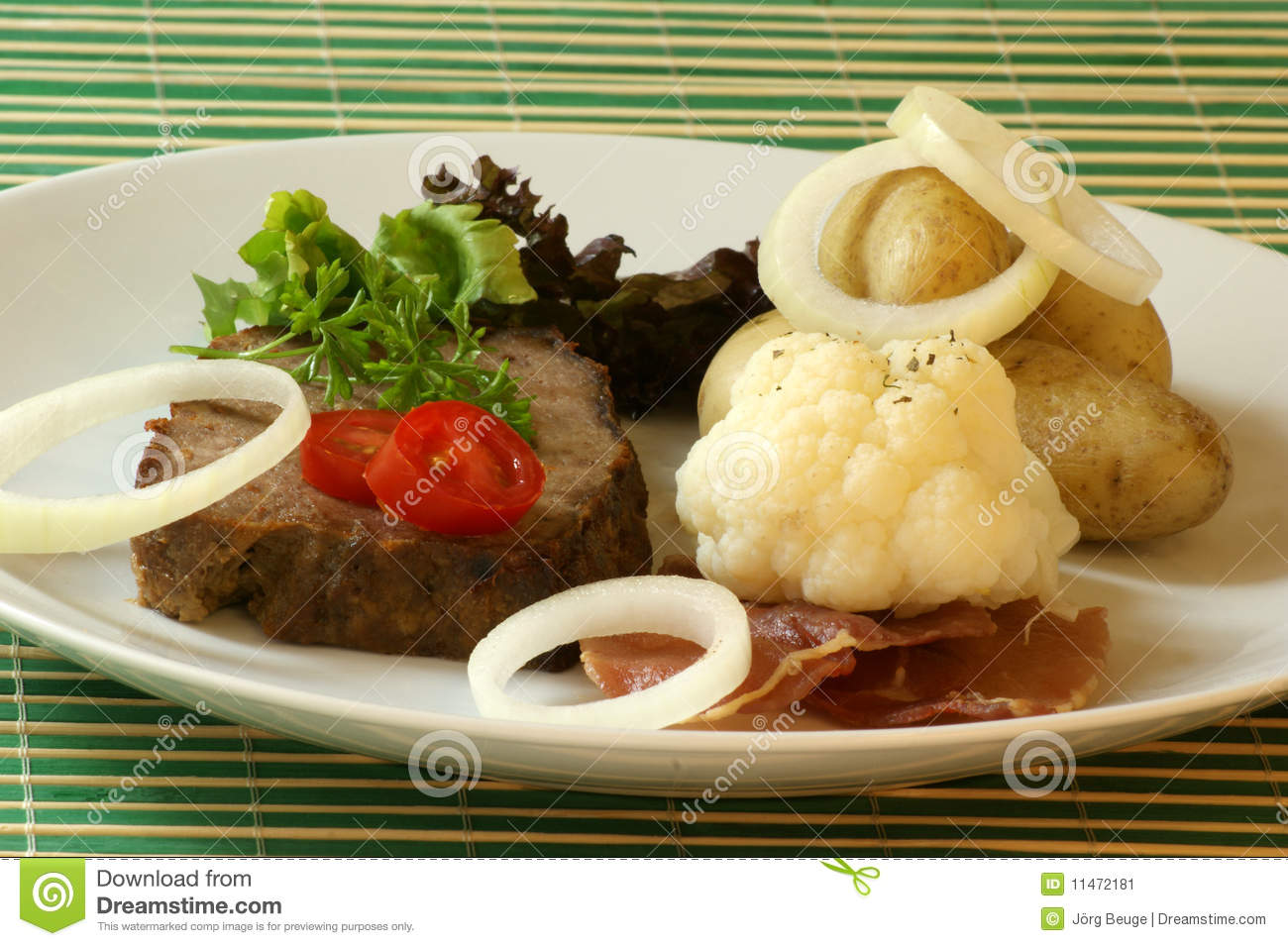 Sliced Meat Loaf With Egetable On A Plate Stock Image   Image