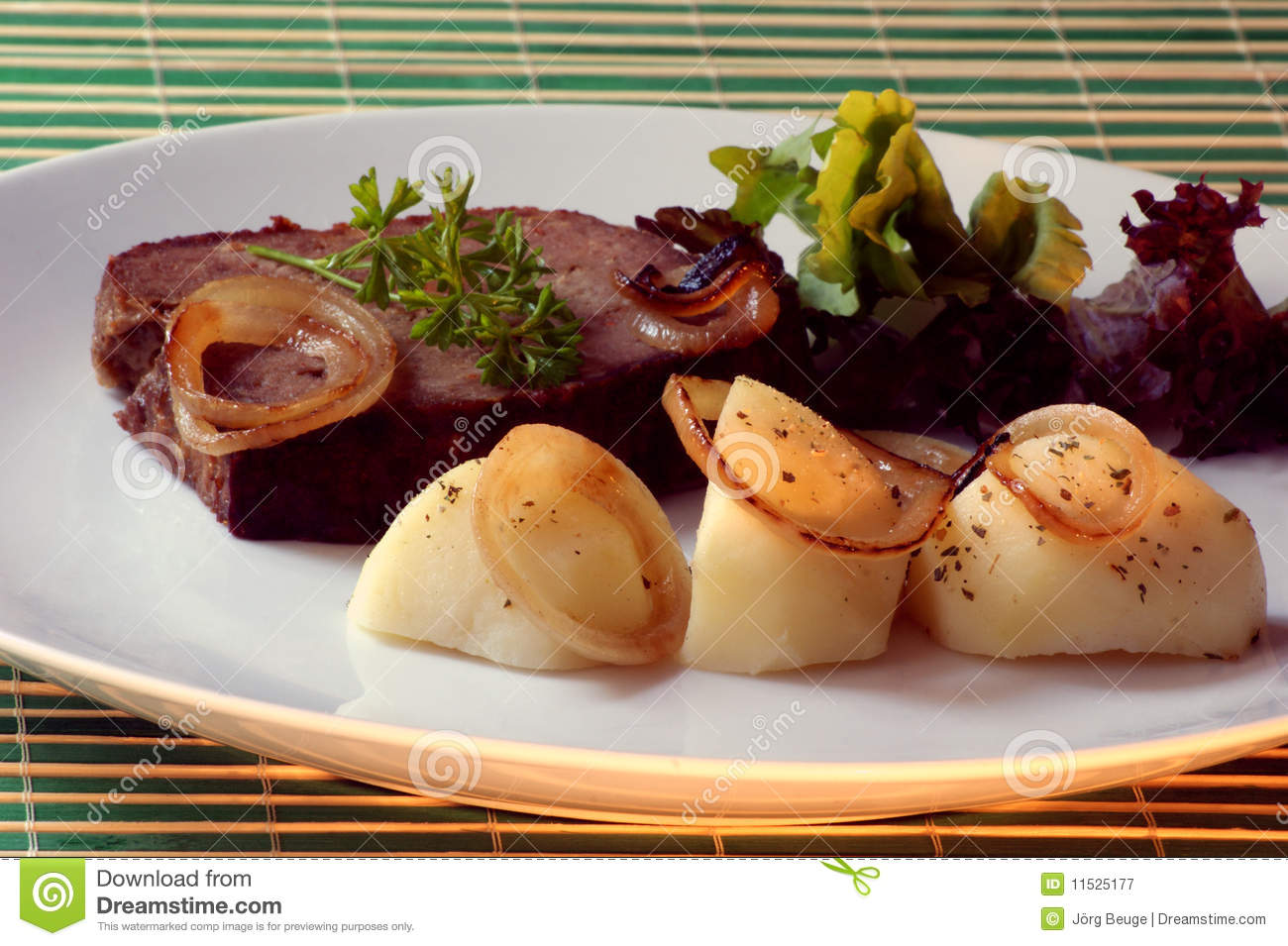 Sliced Meat Loaf With Potato On A Plate Royalty Free Stock Photography