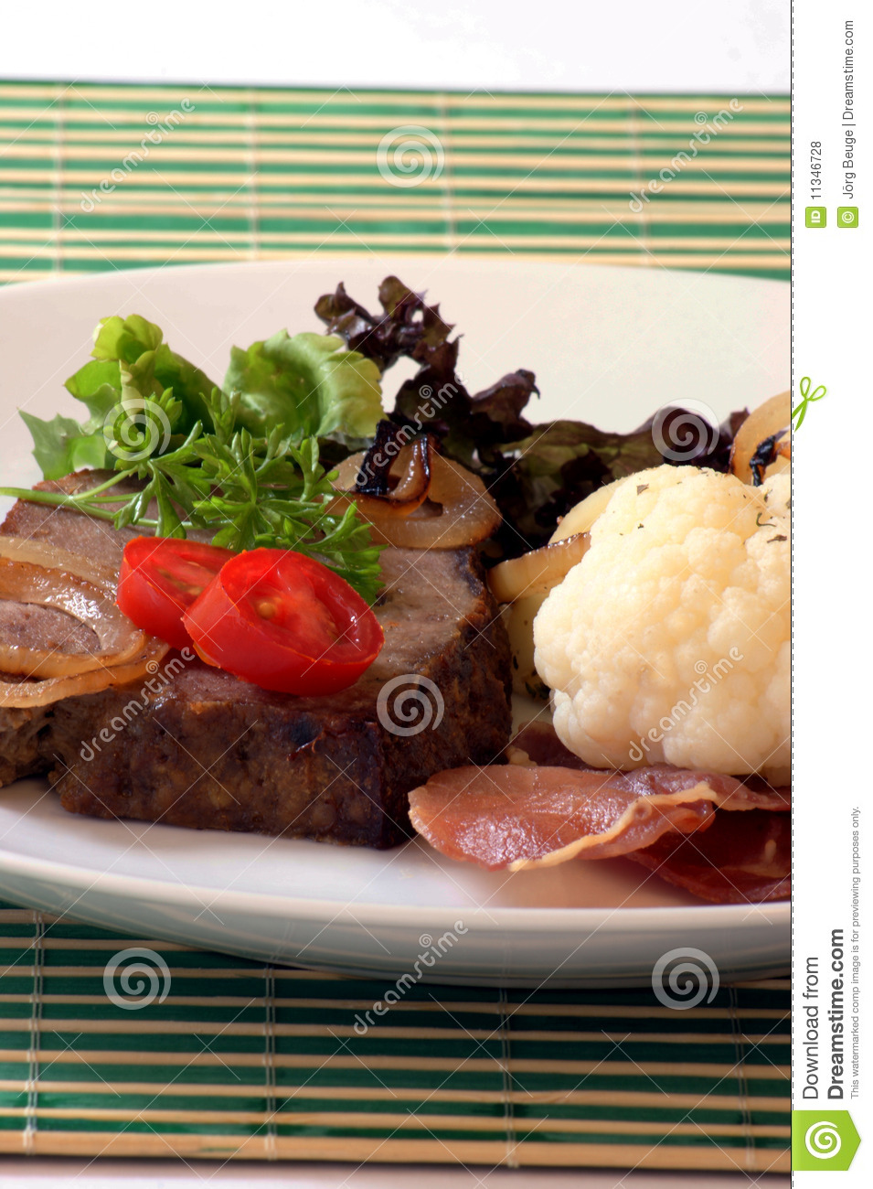 Sliced Meat Loaf With Vegetable On A Plate Royalty Free Stock Photos