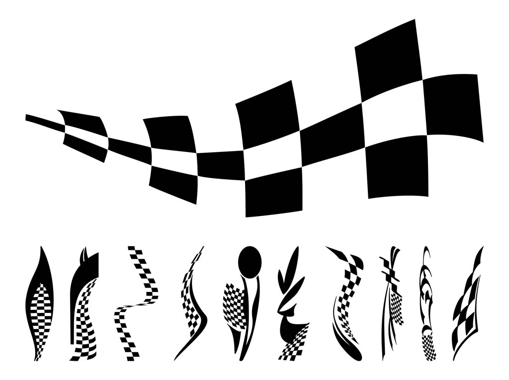 Speed And Driving Vector Graphics Of Racing Flags  Waving Pieces Of