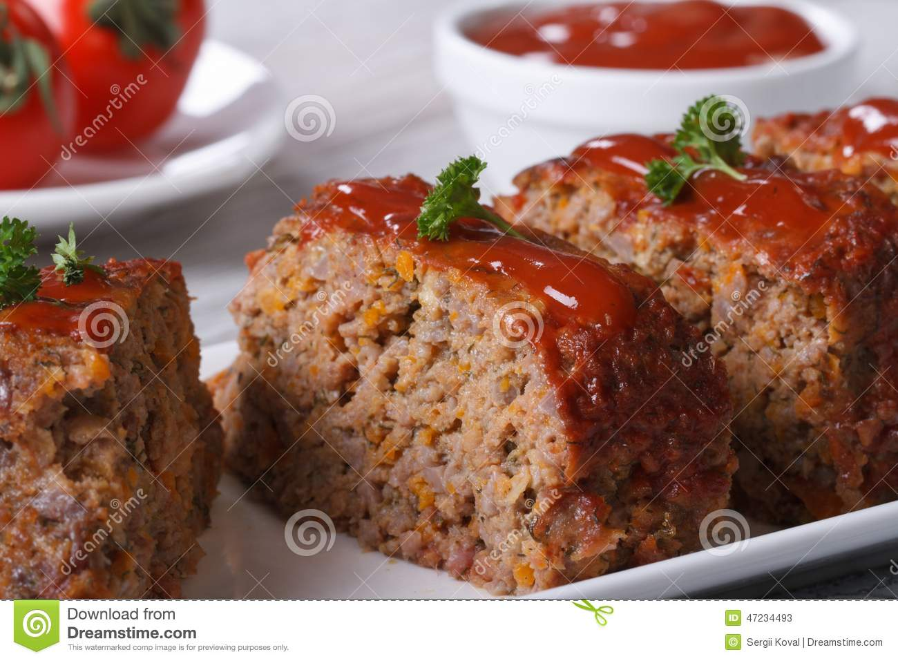 Stock Photo  Meat Loaf Closeup Sliced On A Plate Horizontal
