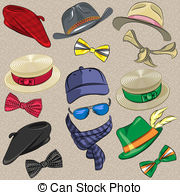 Vector Set Hipster Accessories   Set Hipster Hats Scarves