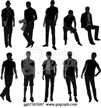 Art   A Set Of Men Models Doing Fashion  Clipart Drawing Gg57593687
