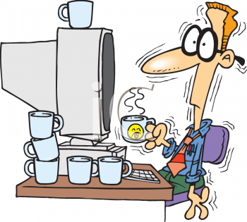 Cartoon Of An Office Worker Drinking Too Much Coffee Clipart Image