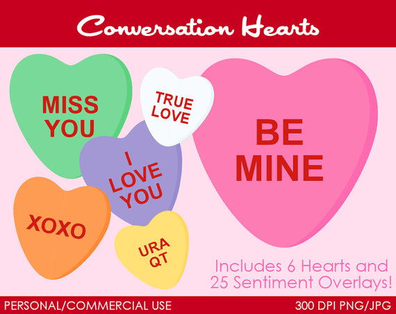 Conversation Hearts Candy Clipart   Digital Clip Art Graphics For