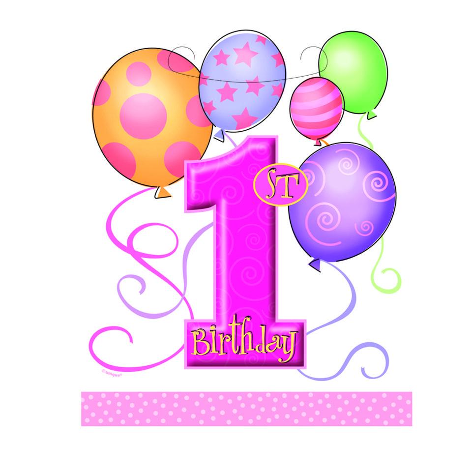Loot Bags 1st Birthday Boys Balloons 8 Pk: First Birthday Clipart