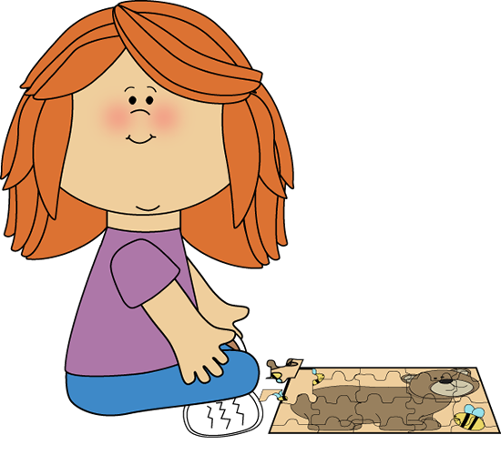 Girl Putting A Puzzle Together Clip Art Image   Girl Sitting On The