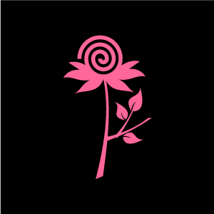 Graphic Design Of Flower Clipart   Pink Swirl Flower With Black