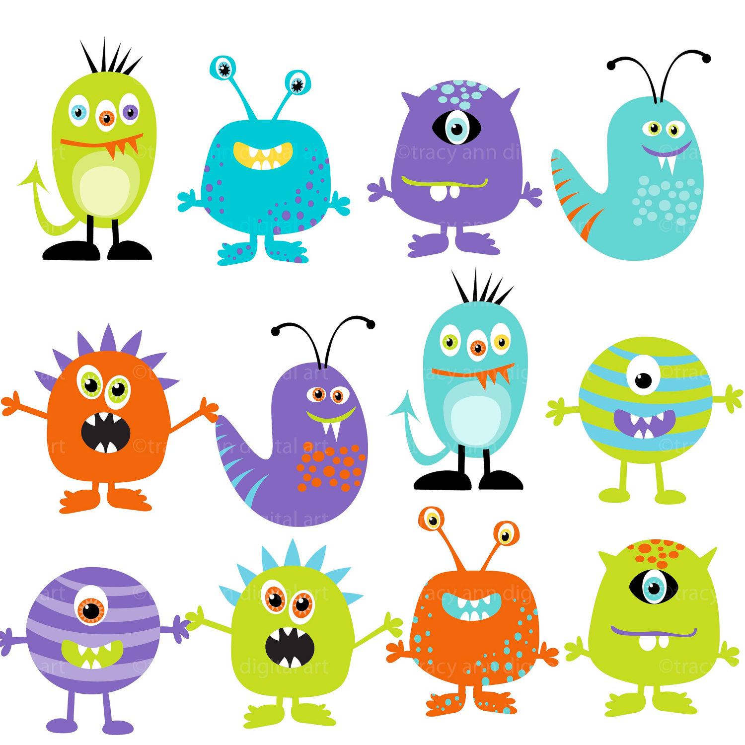 Monster Clipart Digital Monsters Set Of 12 By Tracyanndigitalart