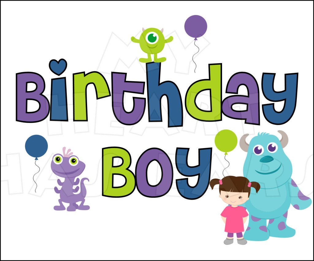 Monsters Inc  Birthday Boy Instant Download Digital Clip Art    My