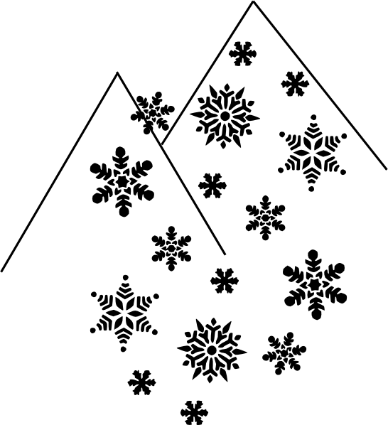 Mountain Snow Flakes Clip Art