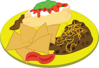 Plate Of Mexican Food The Yellow Stoneware Plate In This Clipart