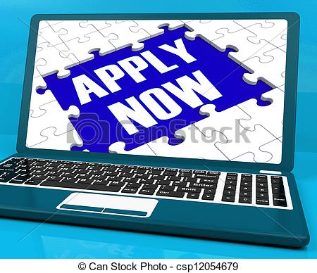 Stock Illustrations Of Apply Now On Laptop Showing Online Applications