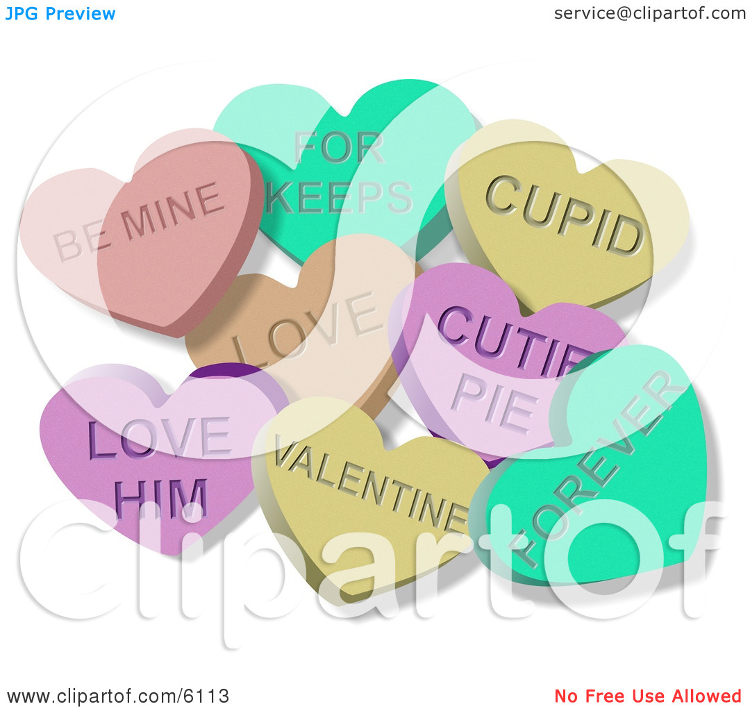 Valentines Day Candy Hearts Clip Art Clipart Illustration Of