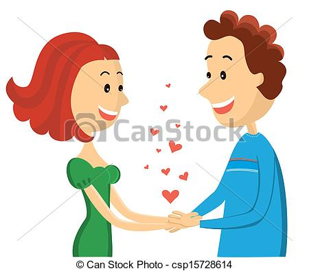 Vector Clip Art Of Happy Couplevector Woman And Man Lovers On