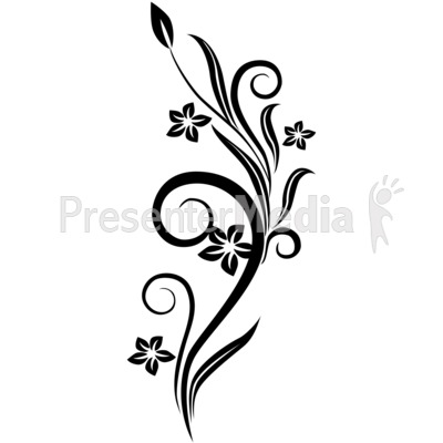 Vines Swirl Black Flowers   Wildlife And Nature   Great Clipart For