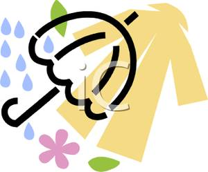 An Umbrella With A Raincoat Clipart Image