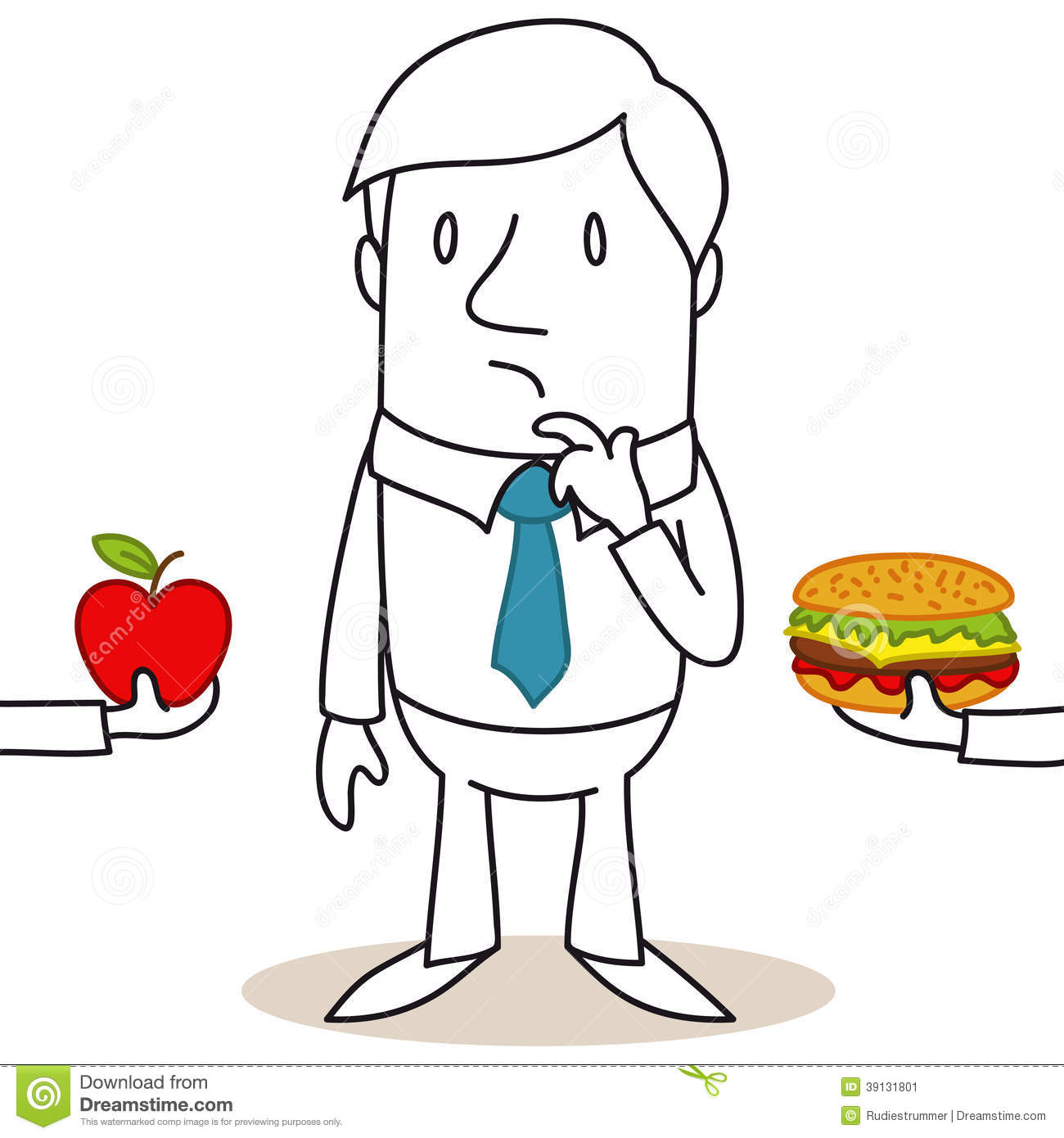 Cartoon Man Healthy   Junk Food Decision Stock Vector   Image