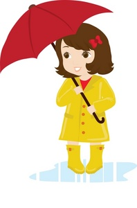 Child Clipart Image   Young Girl Wearing A Rain Slicker