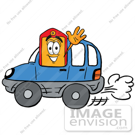 Clip Art Graphic Of A Red And Yellow Sales Price Tag Cartoon Character