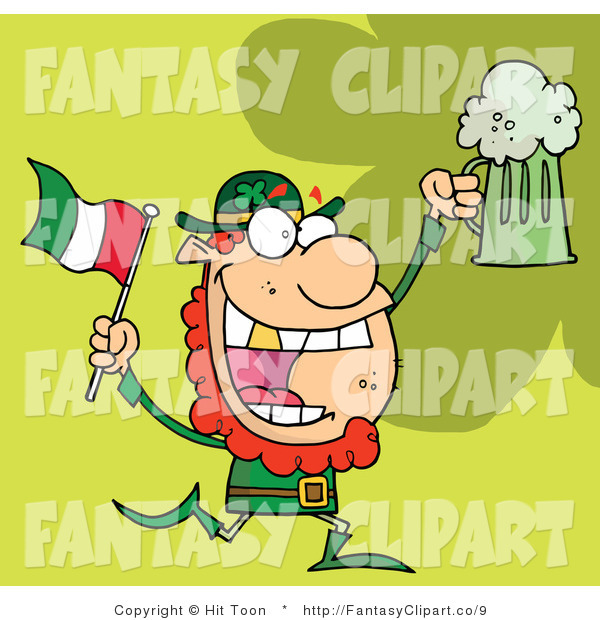 Clip Art Of A Running Leprechaun With Beer And A Flag By Hit Toon    9