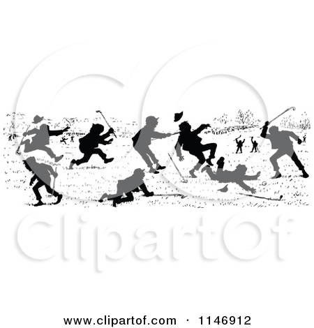 Clipart Of A Retro Vintage Black And White People Fighting   Royalty