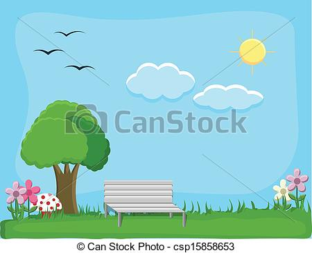 Clipart Vector Of City Park   Background Vector   Drawing Art Of City