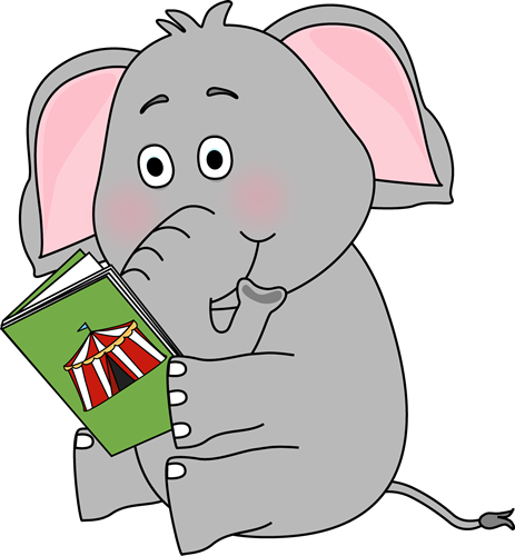 Elephant Reading Clip Art Image   Elephant Sitting And Reading A Book