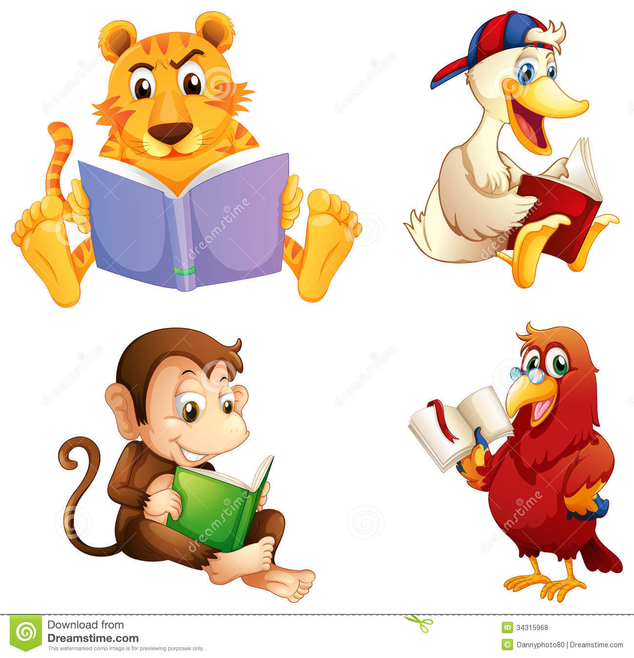 Four Animals Reading Royalty Free Stock Photos   Image  34315968