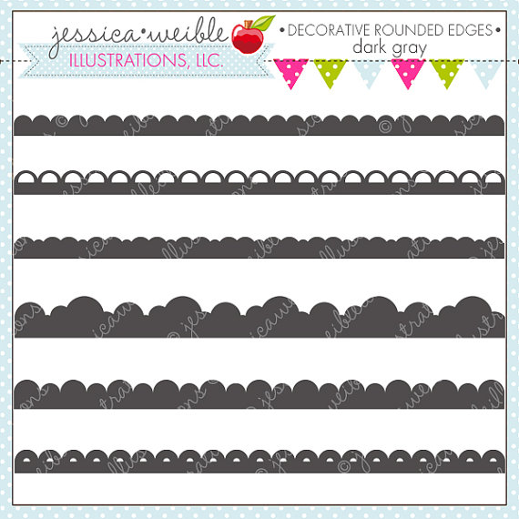 Gray Decorative Rounded Border Edges   Cute Digital Clipart For