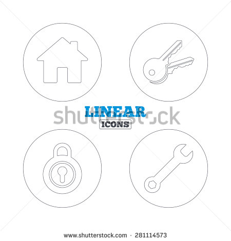 Home Key Icon  Wrench Service Tool Symbol  Locker Sign  Main Page Web