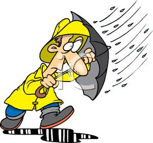 Man In A Yellow Raincoat With An Umbrella Clipart Picture