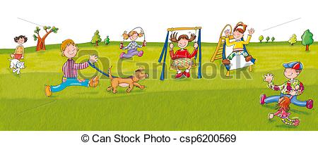 Of Park Swings Children Play Csp6200569   Search Vector Clipart