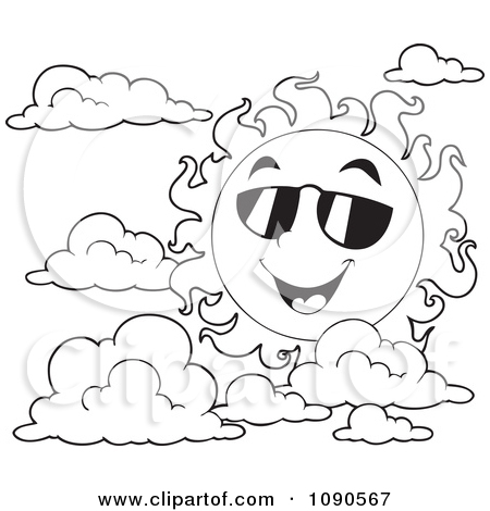 Page Outline Of A Happy Summer Sun With Shades And Clouds By Visekart