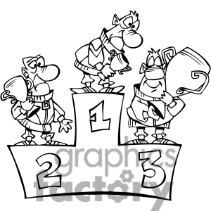 Royalty Free Black And White Cartoon Winner Podium Clipart Image