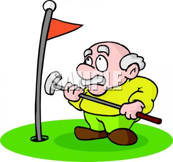 Royalty Free Clipart Image  Cartoon Of An Old Man Playing Golf