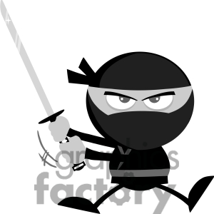 Royalty Free Rf Clipart Illustration Angry Ninja Warrior Jumping With