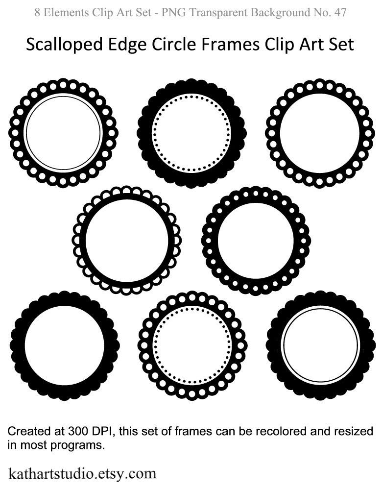 Scalloped Edge Circle Frames Clipart Set For By Kathartstudio