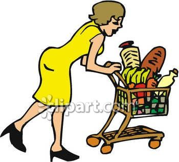 Shopping Pushing A Shopping Cart Clip Art Royalty Free Clipart Image