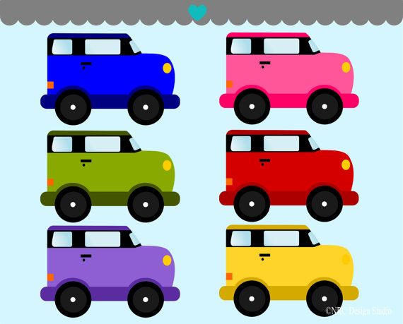 To Birthday Sale   Cute Cars Clip Art Graphics   Digital Clipart