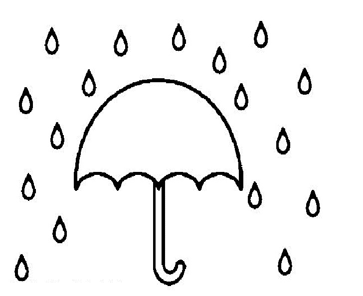 Umbrella In Rain Coloring Pages