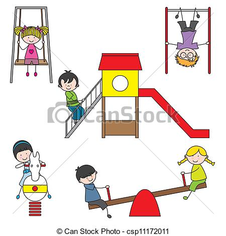 Vector   Kids Playing At The Park   Stock Illustration Royalty Free