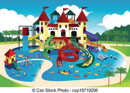 Vector   People Going To Water Park   Stock Illustration Royalty Free