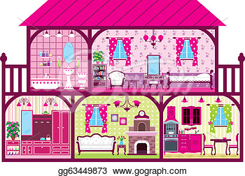 Clip Art Vector   House For The Girl In A Cut In Pink  Stock Eps