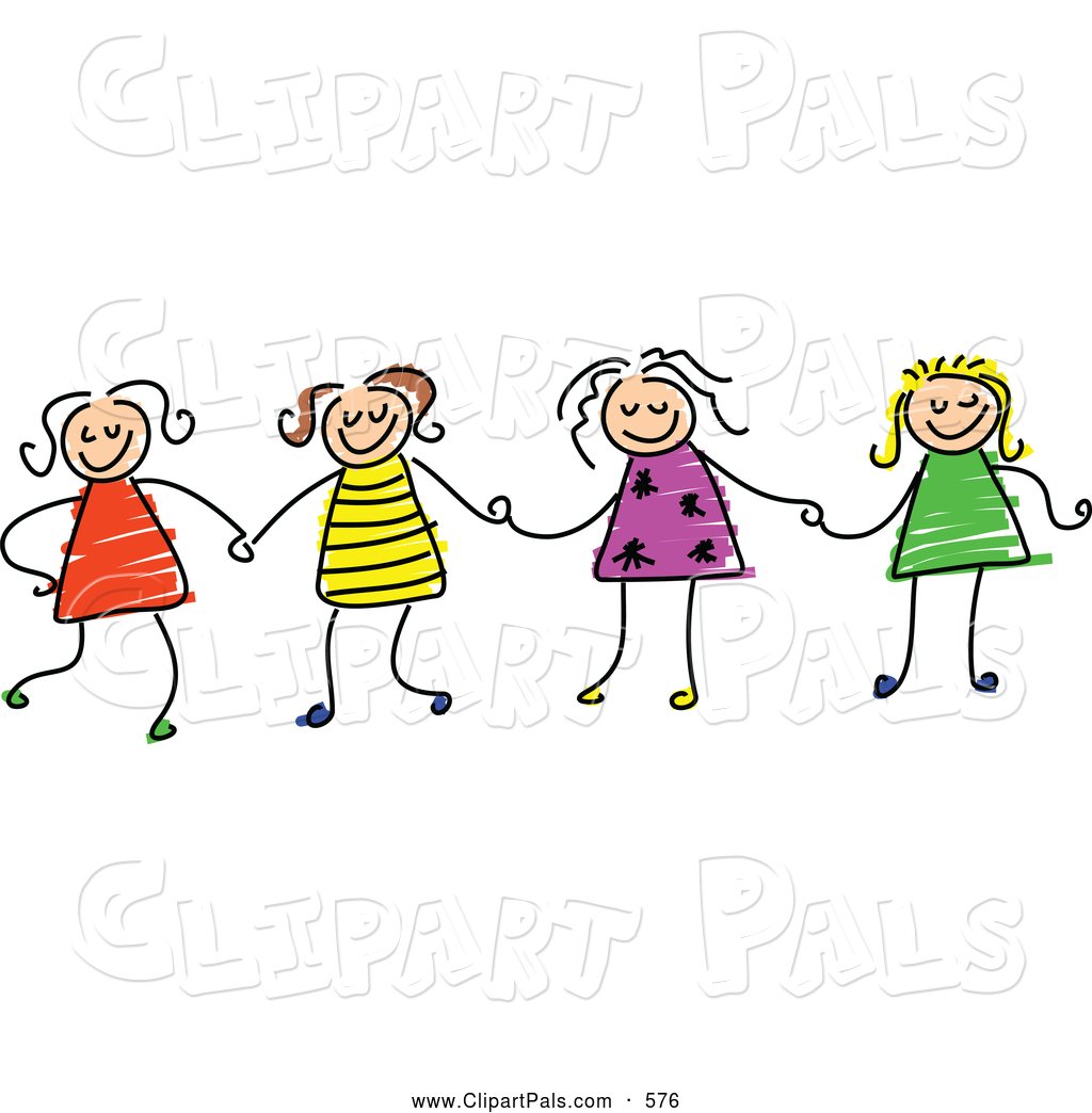 Clipart Of A Cheerful Childs Sketch Of Four Girls Holding Hands By