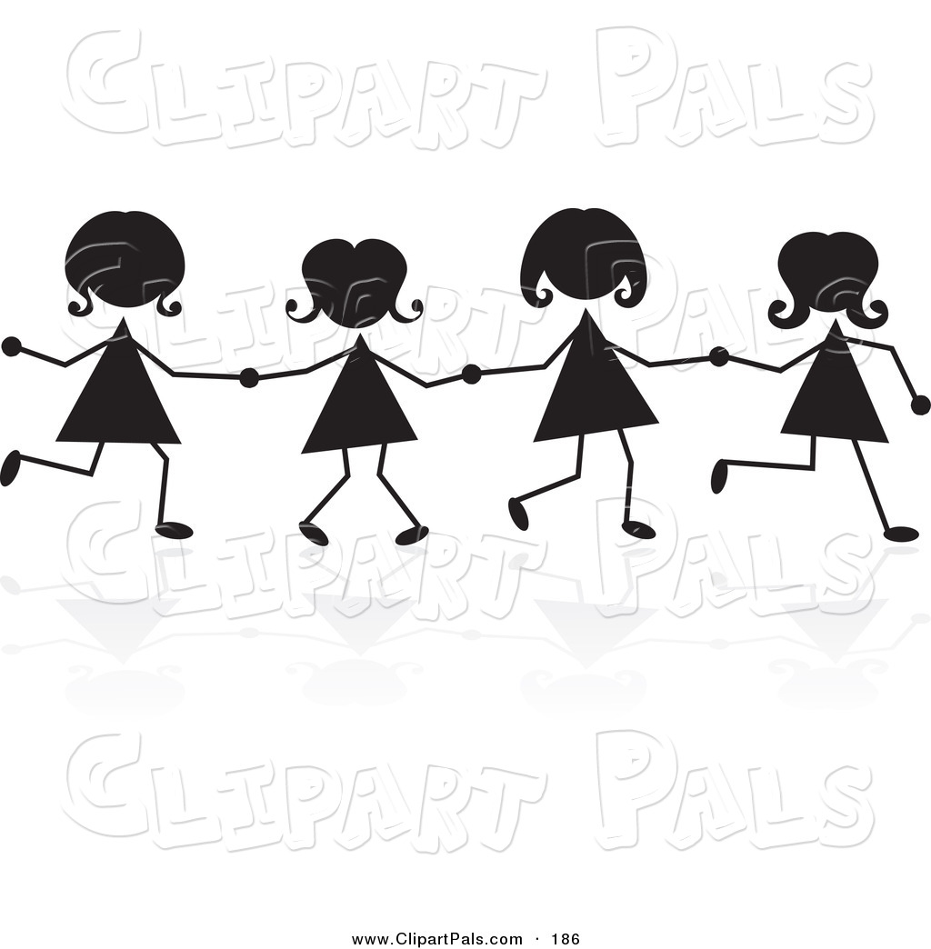 Clipart Of A Line Of Silhouetted Stick Girls Holding Hands By Prawny