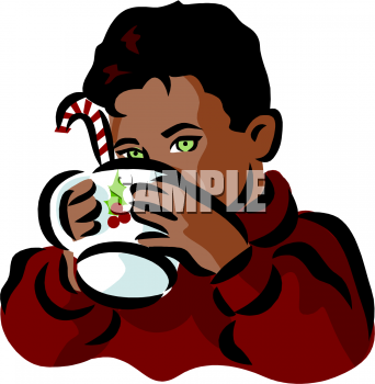 Clipart Picture Of A Little Boy Drinking Hot Cocoa With A Candy Cane